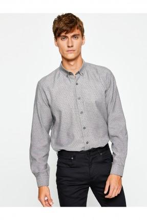 قميص رجالي منقط - رمادي