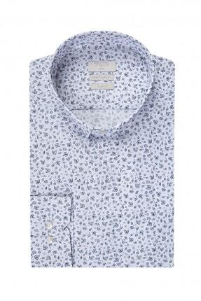 قميص رجالي مطبوع - ابيض