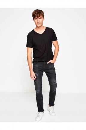 بنطال رجالي جينز ممزق - اسود
