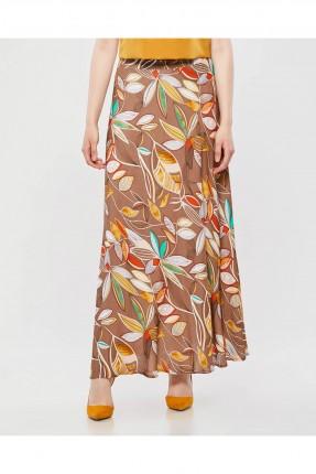تنورة طويلة مزخرفة مع كسرات