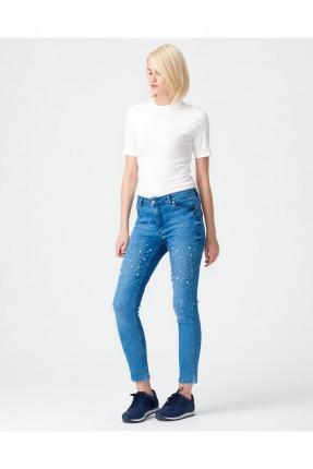 بنطال نسائي جينز مزين بلؤلؤ