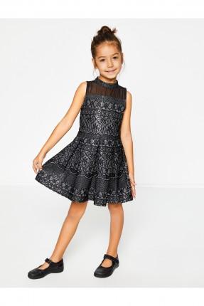 فستان اطفال بناتي حفر - اسود