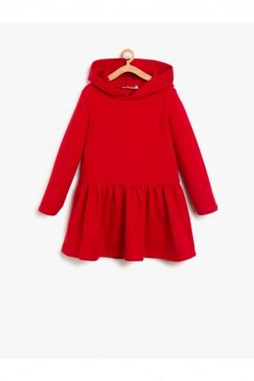 فستان اطفال بناتي مع كبشونة - احمر