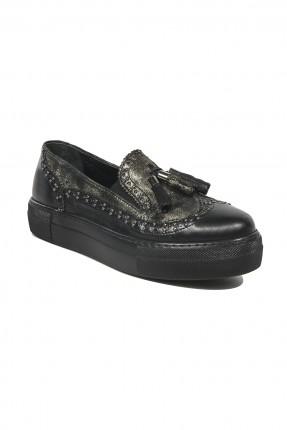 حذاء نسائي جلد _ برونز