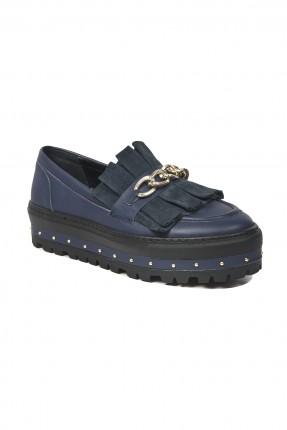 حذاء نسائي جلد _ ازرق داكن