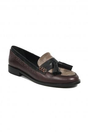 حذاء نسائي جلد _ خمري