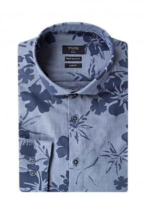 قميص رجالي مزهر _ ازرق داكن