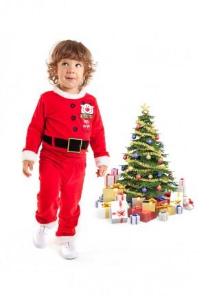 طقم اطفال ولادي بموديل بابا نويل - احمر