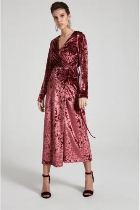 فستان سبور كم طويل - احمر