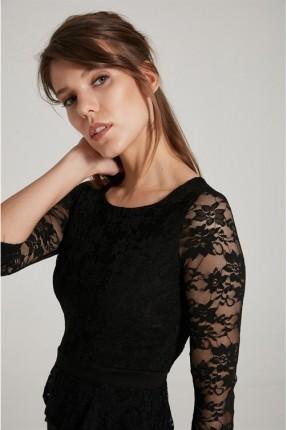 فستان سبور مع دانتيل - اسود