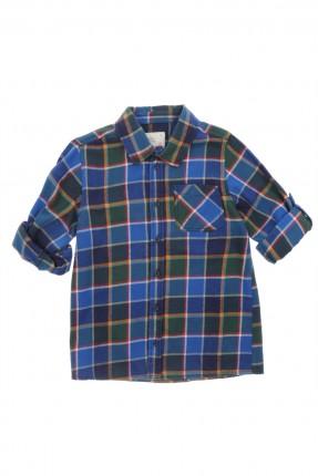 قميص اطفال ولادي كارو _ ازرق داكن