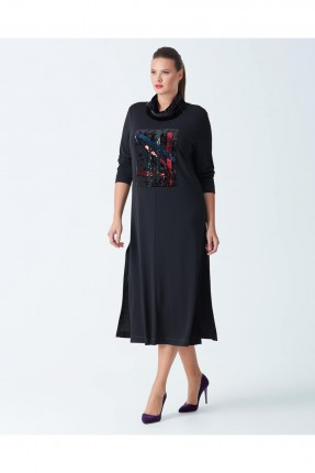 فستان كم طويل - اسود