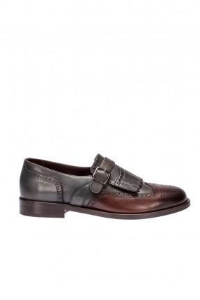 حذاء رجالي جلد _ فضي غامق