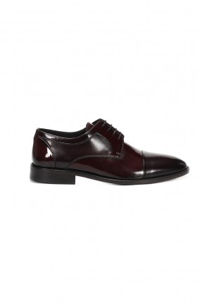 حذاء رجالي جلد _ خمري غامق