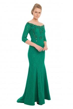 فستان رسمي طويل دانتيل _ اخضر