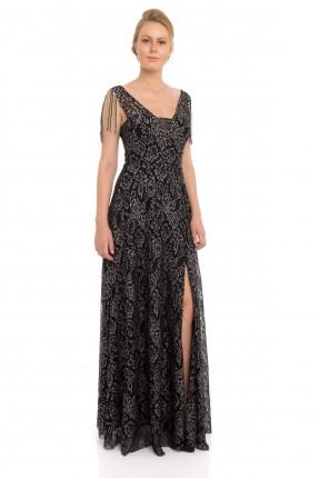 فستان رسمي طويل مع دانتيل _ اسود