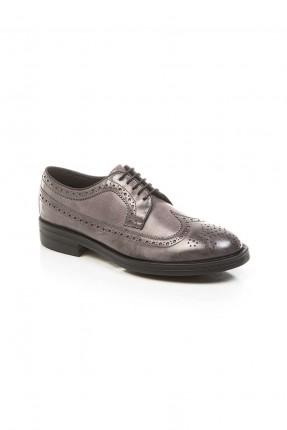 حذاء رجالي  جلد - رمادي