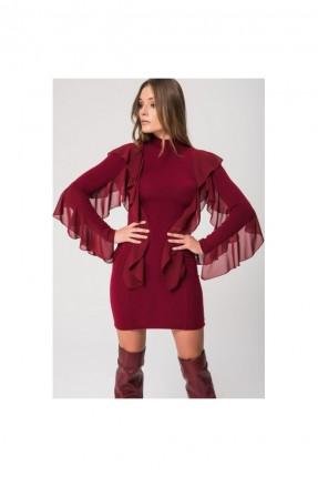 فستان سبور مع كشكش كم طويل