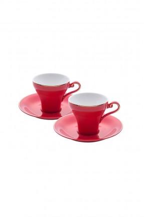 طقم فناجين قهوة / 6 اشخاص - 12 قطعة / احمر
