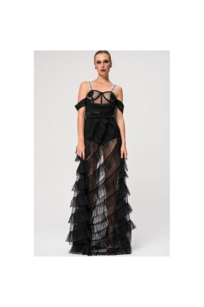 فستان لانجري طويل مع كشكش