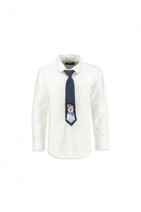 قميص اطفال ولادي مع ربطة عنق - ابيض