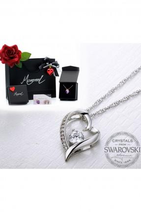 قلادة نسائية موديل قلب حجر الماس