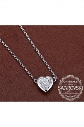 قلادة نسائية حجر موديل قلب - مطلية بالذهب