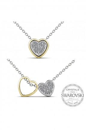 قلادة نسائية موديل قلب - مطلية بالذهب