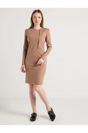 فستان كم طويل - بيج