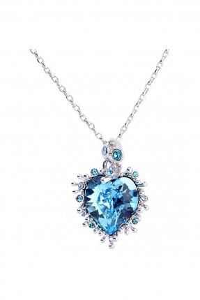 قلادة نسائية موديل قلب - ازرق