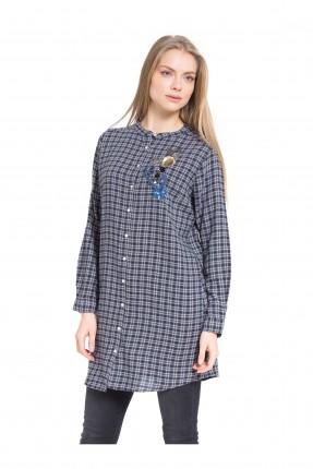 قميص نسائي طويل - رمادي