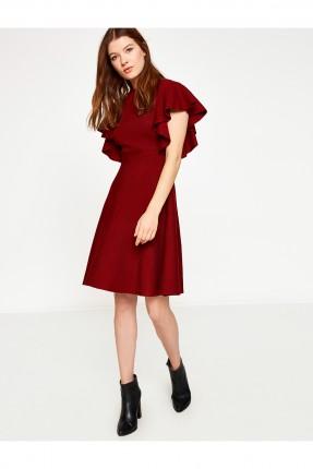 فستان مع كشكش _ خمري
