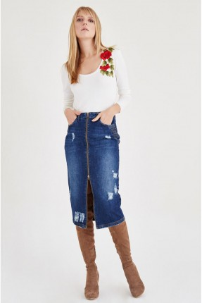 تنورة قصيرة جينز مع سحاب
