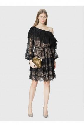 فستان قصير دانتيل - اسود