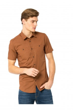 قميص رجالي نص كم - بني