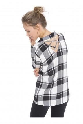 قميص نسائي كارو - اسود