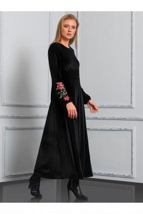 فستان طويل مطرز - اسود