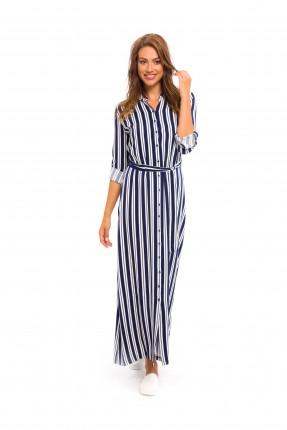 فستان مخطط طويل - ازرق