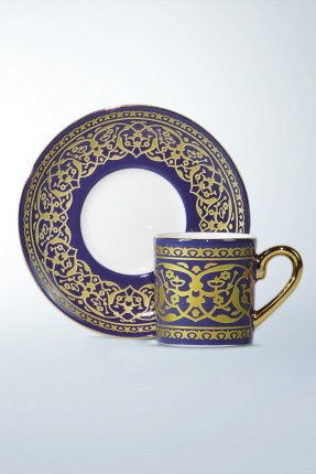 طقم فناجين قهوة 6 اشخاص - مزخرف بالذهبي