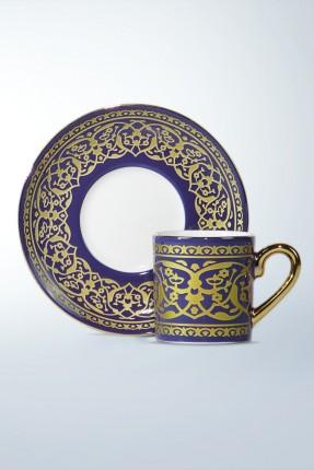 طقم فناجين قهوة 12 شخص - مزخرف بالذهبي