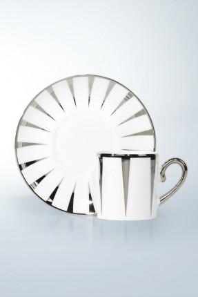 طقم فناجين قهوة 6 اشخاص - مزخرف فضي