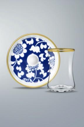 طقم شاي 6 اشخاص - مزخرف رسمة ورد ازرق