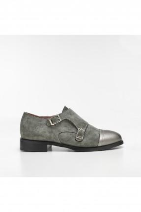 حذاء نسائي جلد - رمادي