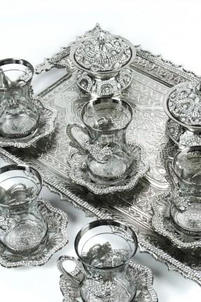 طقم شاي 6 اشخاص- فضي مرصع بالالماس