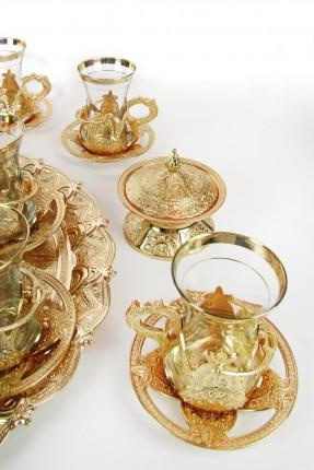 طقم شاي 6 اشخاص - ذهبي منقوش