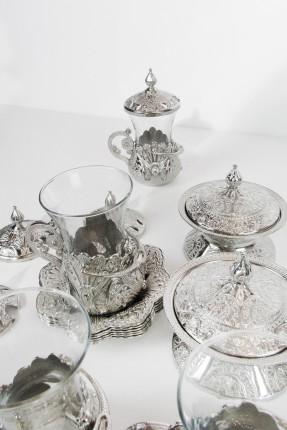 طقم شاي 6 اشخاص - فضي منقوش