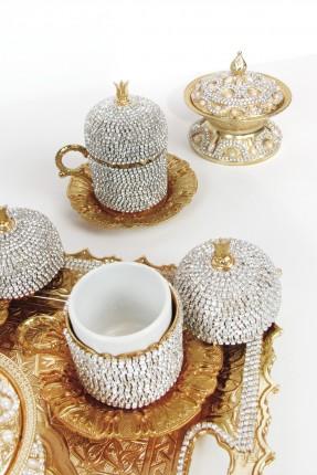 طقم قهوة 6 اشخاص - ذهبي مرصع بالالماس