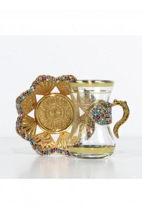 طقم شاي 6 اشخاص - ذهبي مرصّع بالالماس الملون