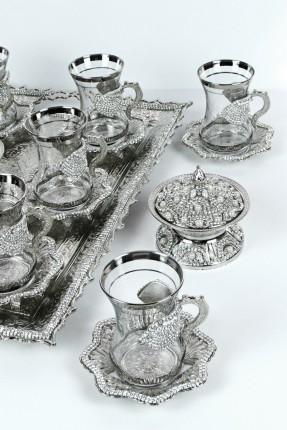 طقم شاي 6 اشخاص - فضي مرصّع بالالماس