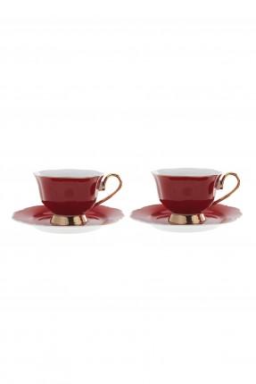 طقم فناجين شاي / 2 شخص - 4 قطع / احمر